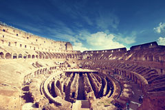 Inside of Colosseum in Rome Stock Images