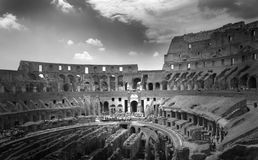 Inside Colosseum in Rome. Inside the Colosseum ruins in Rome black and white stock images