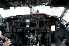 Commercial Airplane Cockpit Stock Photo