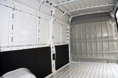 Inside commercial van. Inside a white commercial empty van car Stock Image