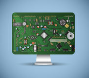 Inside the computer. Electronic components Royalty Free Stock Photography