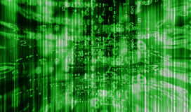 Inside computer green interlaced digital abstraction Royalty Free Stock Images