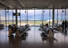 Inside of concourse E at waiting area for passengers who travel from Zurich Airport to somewhere else. Zurich, Switzerland - May 14, 2017: Inside of concourse E Stock Photos
