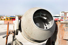 Inside the container of portable concrete mixer Royalty Free Stock Photo
