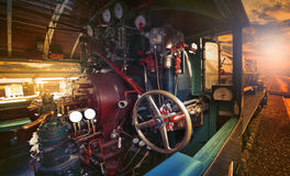 Inside control room of stream engine locomotive train parking on Royalty Free Stock Photography