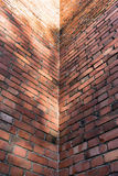 Inside corner of a brick of the old building Royalty Free Stock Photo