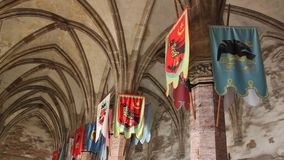 Inside of the Corvin Castle. Architecture elements and flags stock video