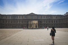 Inside Cour Carre in the Louvre in Paris Royalty Free Stock Photo