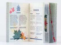 Inside cover Canadian passport 2014 Royalty Free Stock Photos
