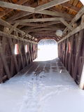 Inside Covered Bridge. Covered bridge entrance at Kent State Park in Connecticut Royalty Free Stock Photo