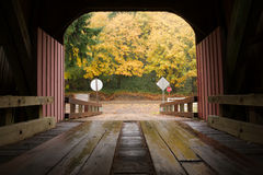 Inside Covered Bridge Fall Color Autumn Leaves Royalty Free Stock Photography