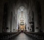 Inside of a creepy old church royalty free stock image