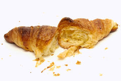 Inside of croissant butter on white background Stock Images