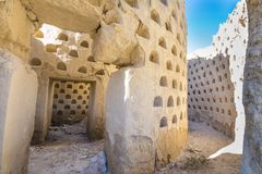 Inside crumbling dovecote mud building in Ampudia