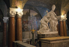 Inside the crypt. A statue in the crypt of the Cathedral of Ascoli stock images