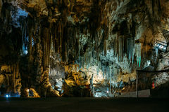 Inside the Cuevas de Nerja - Caves of Nerja in Spain. Stalactites and stalagmites in the famous Nerja Caves royalty free stock photography
