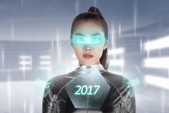 Inside cyber world. 2017 new year concept. Pretty asian woman wearing latex jumpsuit. Inside cyber world. 2017 new year concept Stock Photo