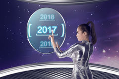 Inside cyber world. 2017 new year concept. Pretty asian woman wearing latex jumpsuit. Inside cyber world. 2017 new year concept Stock Photos