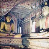Inside of Dambulla cave temple. Statues of Buddha in ancient sto Stock Photography