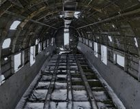 The inside of the DC-3 plane wreck in Iceland. The inside of the DC-3 plane wreck on the coast of Iceland royalty free stock photography