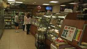 Inside the deli. A view or scene from around town stock video footage