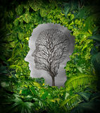 Inside Depression. Concept and inner feelings of distress as a mental health symbol with a healthy green plant jungle window shaped as a human head and a dead vector illustration