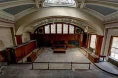 Historic Courtroom with Glass Dome Skylight - Abandoned Courthouse Royalty Free Stock Photos