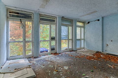 Inside the destroyed house on the edge of the forest Stock Photos