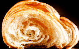 Inside Details of Buttery Fresh Croissant Bread Royalty Free Stock Photos