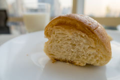 Inside details of a croissant close up stock photography