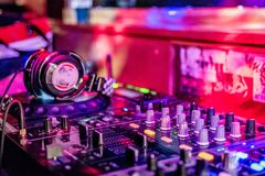 Inside the DJ booth royalty free stock image