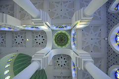 Inside dome of Sultan Ahmad Shah 1 Mosque in Kuantan Royalty Free Stock Photo