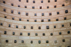 Inside a dovecote. View of a detail inside of a clean dovecote royalty free stock images