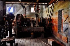 Inside Dredge No. 4 near Dawson City, Yukon. Dredge No. 4 stands 18 meters high amid the rough and rugged Klondike Gold Fields stock images