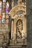 Architecture inside of the Milan Cathedral. Inside of the Duomo di Milano - The Gothic cathedral took nearly six centuries to complete. It is the fifth largest Royalty Free Stock Images