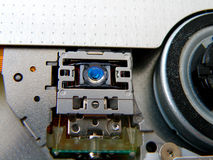 Inside dvd drive. Inside dvd & cd drive on laptop Royalty Free Stock Images