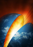 Inside earth explosion. Planet Blue Earth breaking in two Royalty Free Stock Image