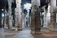 Inside of Ekambareswarar shiva temple, India Royalty Free Stock Photos