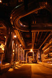 Inside of electric power plant. Cabeles and pipes on power plant Stock Photo