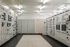 Inside Electrical energy distribution substation Stock Photos