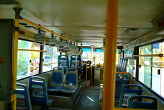 Inside an empty bus of china. Empty bus in china city stock photography