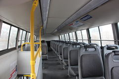 Inside of an empty bus Royalty Free Stock Photography