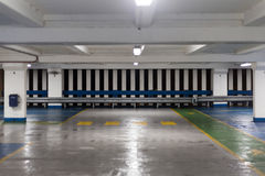 Inside of Empty Car Park at Night Royalty Free Stock Photo