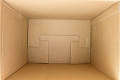 Inside of an empty square cardboard box. An empty square cardboard box Stock Photography