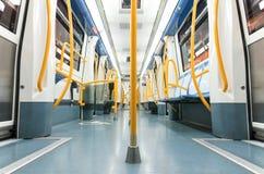 Inside an empty subway train Royalty Free Stock Photography