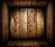 Inside an empty wooden crate. Wood box Stock Photo