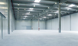 Inside empy warehouse. Interior of a warehouse ,clean and empty