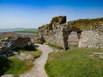 Inside the Enisala Fortress and the Danube Delta in Dobrogea Rom. Ine the Enisala Fortress and the Danube Delta in Dobrogea Romania Royalty Free Stock Image