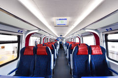 Inside ETS Train inter- city rail service in Malaysia. ETS Launched in August 2010, the service originally operated between Ipoh and Seremban but the KL Sentral Royalty Free Stock Photos