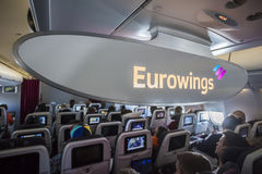 Inside of the Eurowings aircraft Royalty Free Stock Images